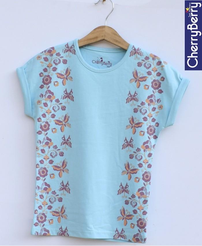 Sea blue printed T-shirt
