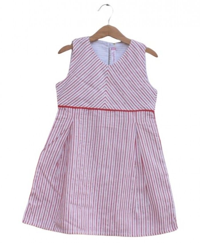 Pink strips cotton Frock