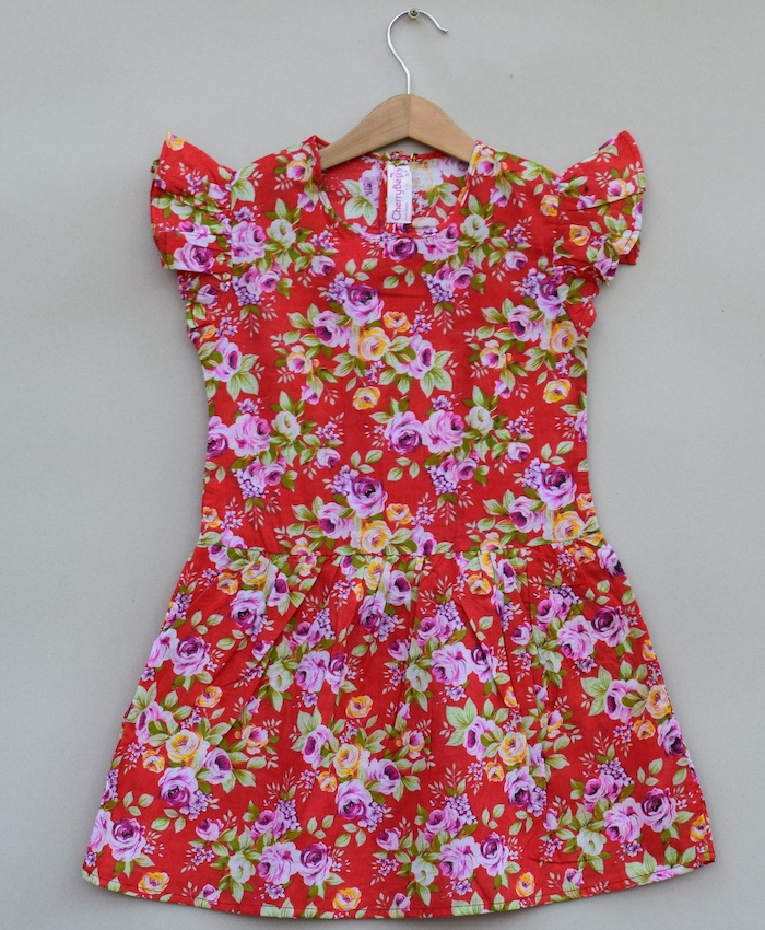 Red flower Print cotton Frock