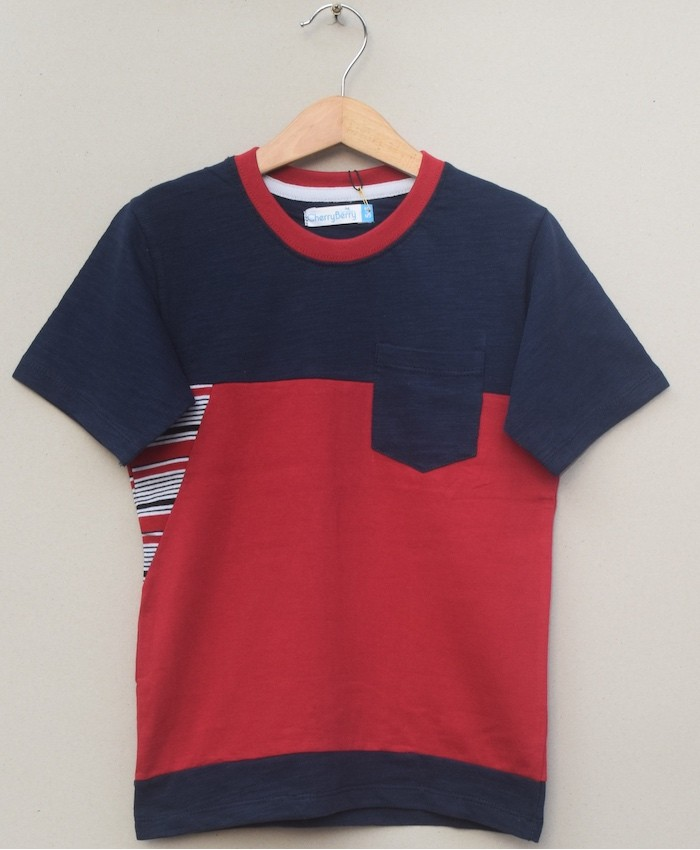 cut and sew panel T-shirt