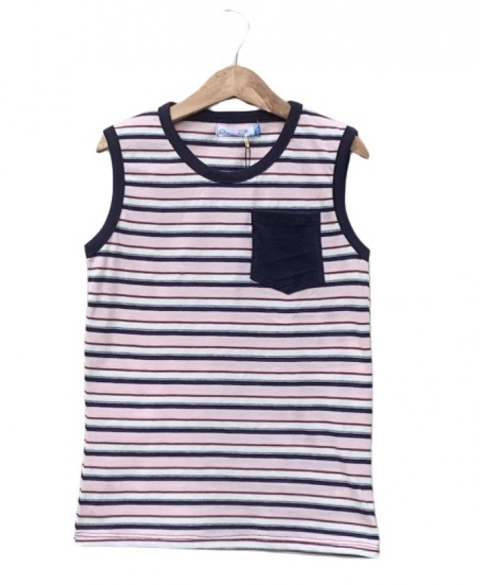 Pocket Striped sleeveless