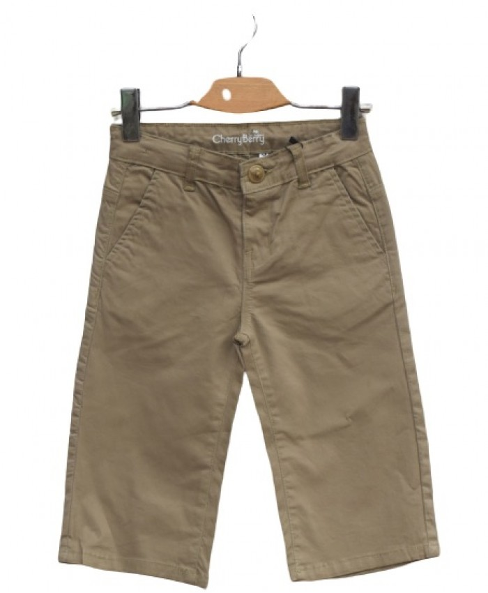Khaki cotton long short