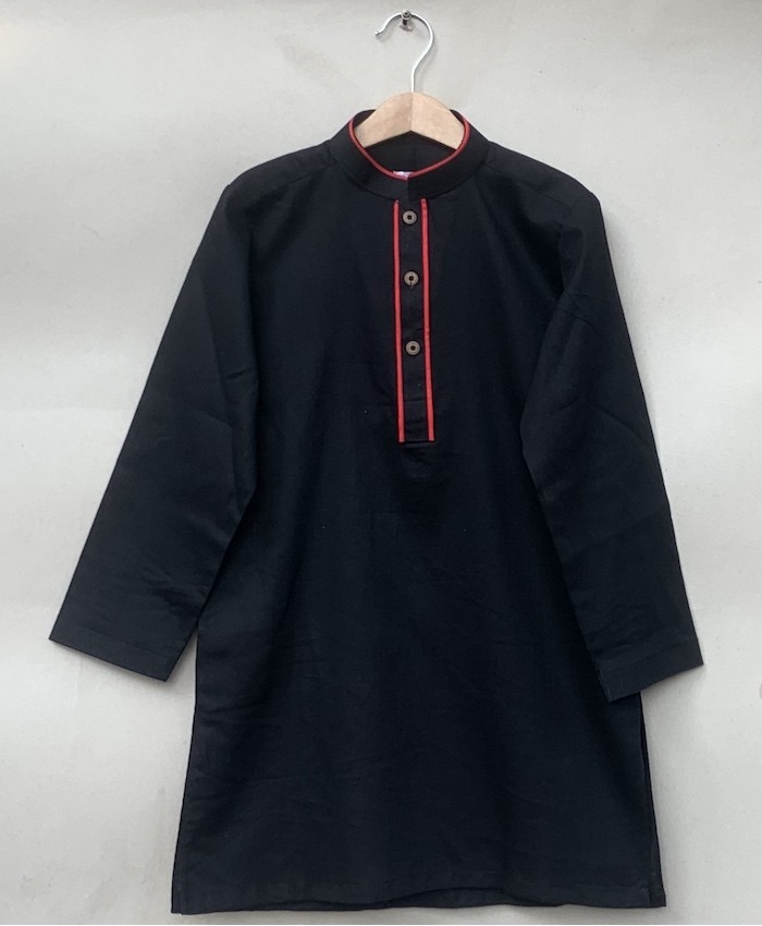 Black Cotton Kurta