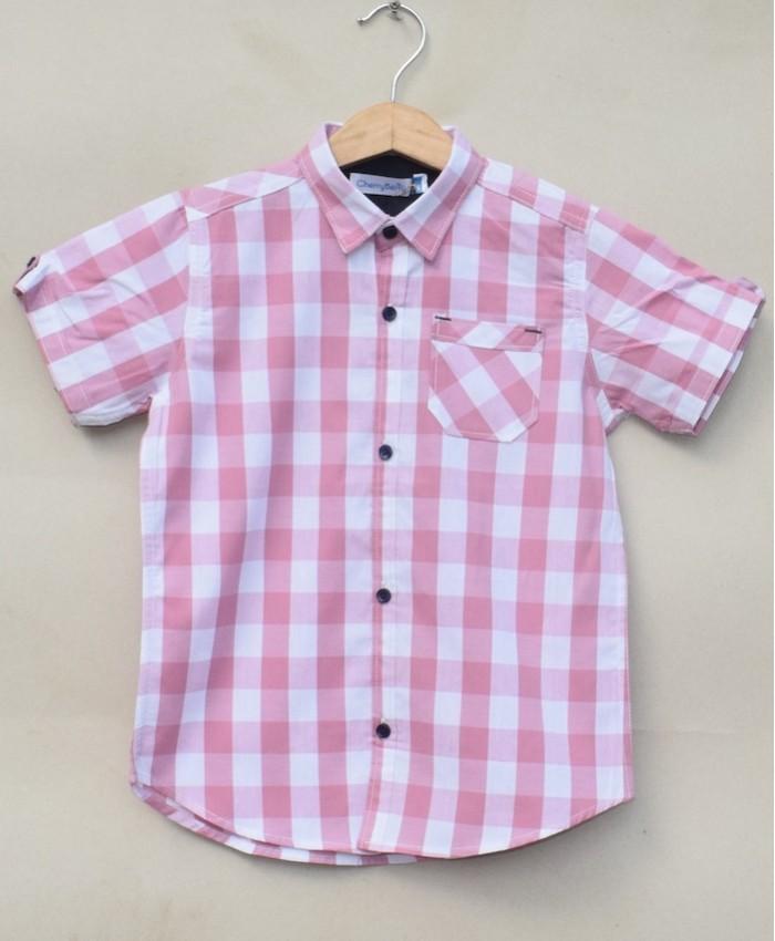 Boys Cotton Pink check Shirt