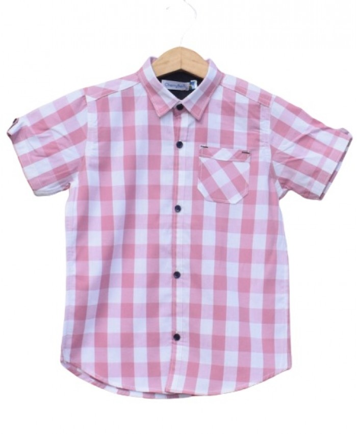 Boys Cotton Pink check Shirt