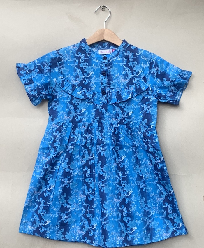 Girls cotton blue print Shirt
