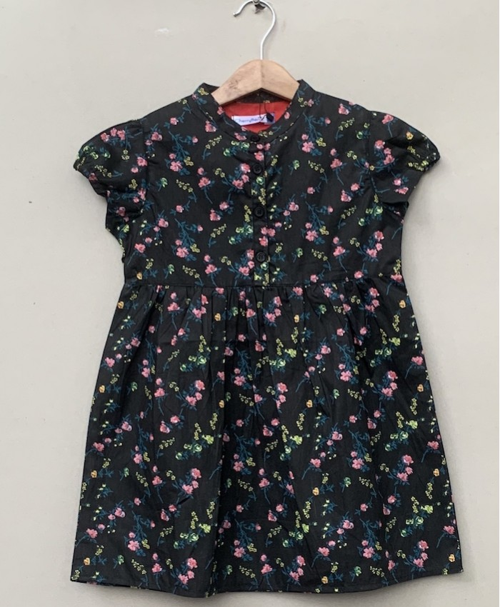 Black pink flower print dress