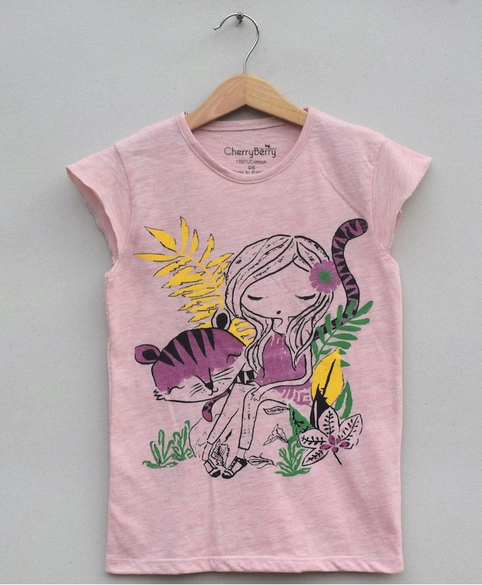GIRLS PRINTED T SHIRT (S20G21)