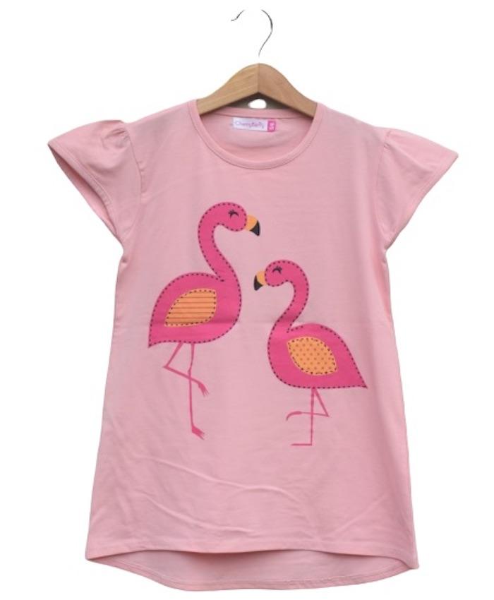 girl pink bird t-shirt