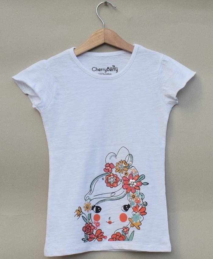 baby girl white bead work T-shirt