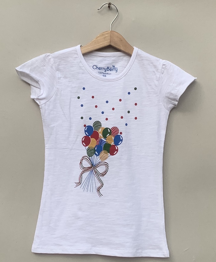Girl white printed t-shirt