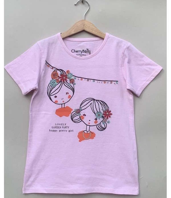 Pink strip sequin work T-shirt
