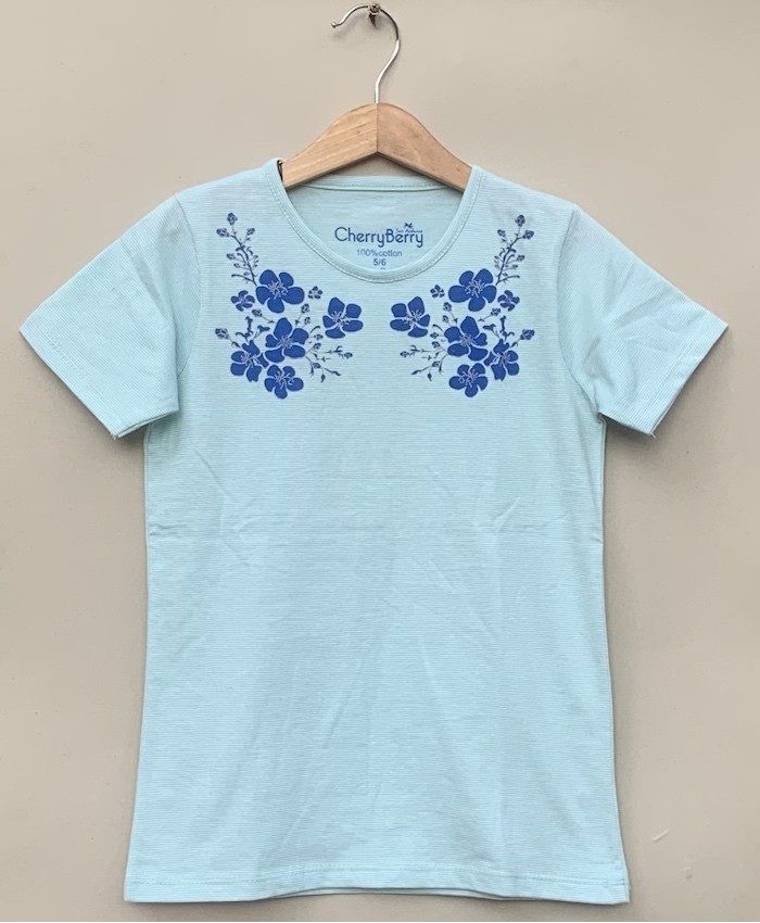 Neck flower print stips T-shirt