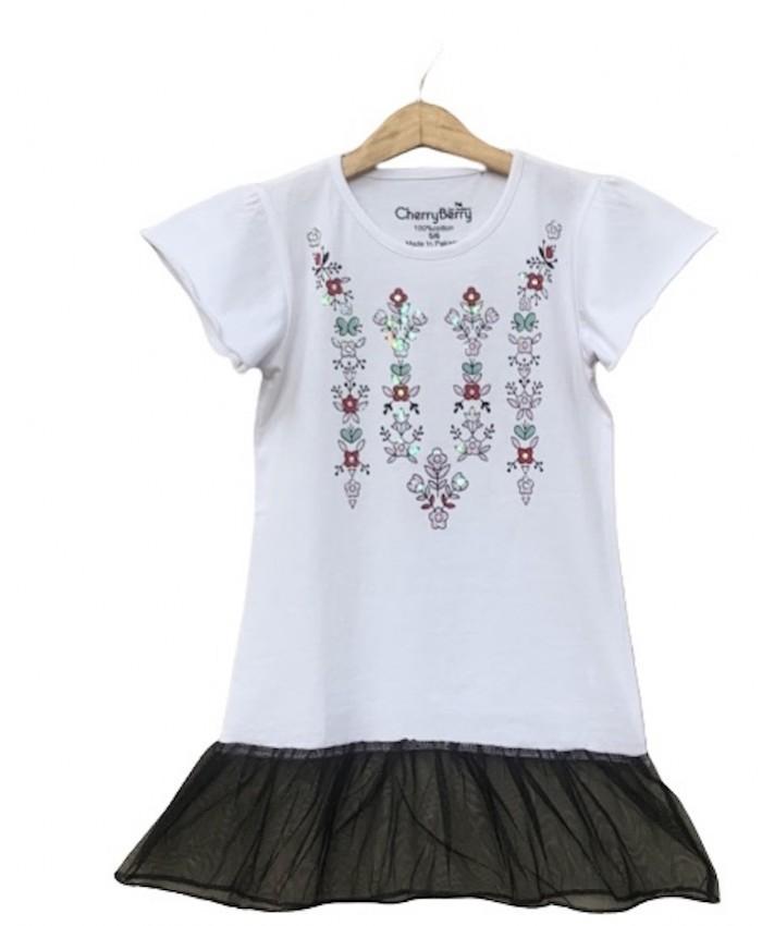 Girls frill net bottom T-shirt