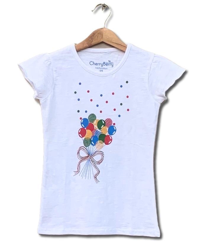 Girl white printed t-shirt