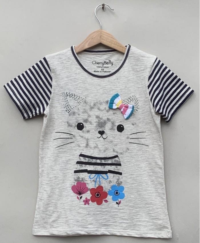 Girls fashion cat T-shirt