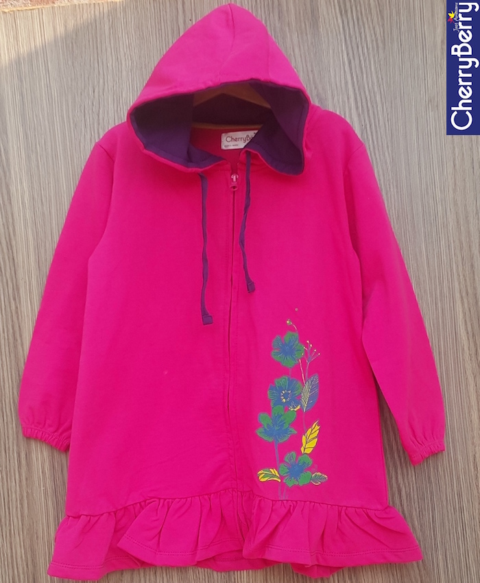 Girl Zip Up Print Hoodie