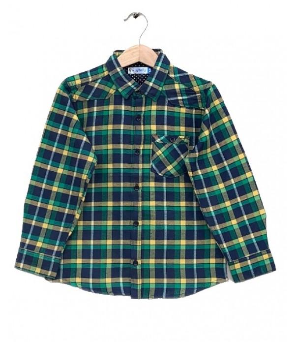 Green Check Cotton Shirt